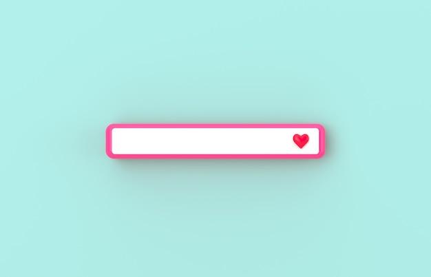 Розовая 3d пустая панель поиска со значком сердца на изолированном фоне.