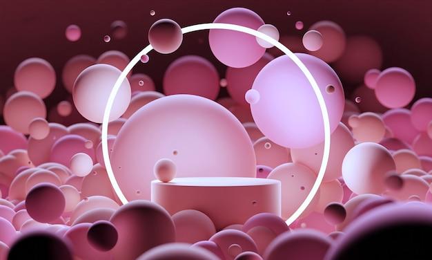 분홍색 3d는 둥근 네온 조명이 있는 날아가는 구체나 공으로 연단을 조롱합니다. 제품 또는 화장품 프레젠테이션을 위한 밝고 현대적인 추상 현대 플랫폼입니다. 기하학적 모양으로 장면을 렌더링합니다.