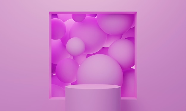 Pink 3d mock up podium with a square window full of flying spheres or balls. bright stylish contemporary abstract modern platform for product or cosmetics presentation.