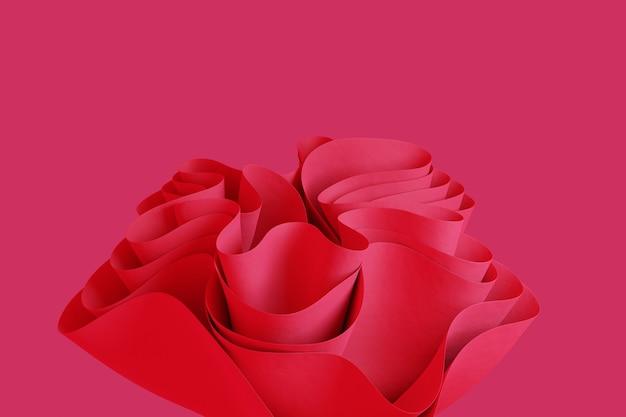 ピンクの3dは、創造的な3dオブジェクトでピンクの背景の壁紙に抽象的な波状のフォームをレンダリングします