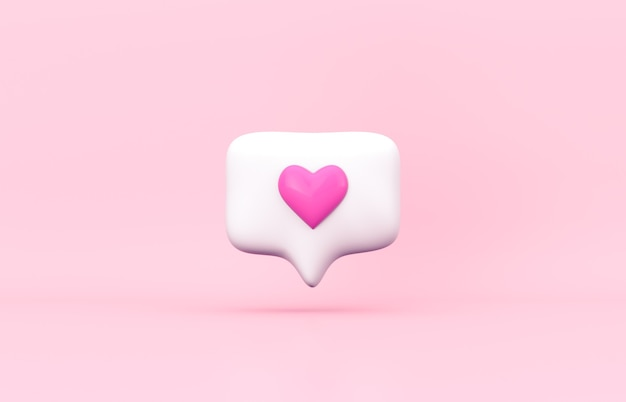 격리 된 배경에 핑크 3d 소셜 미디어 알림 사랑 아이콘.