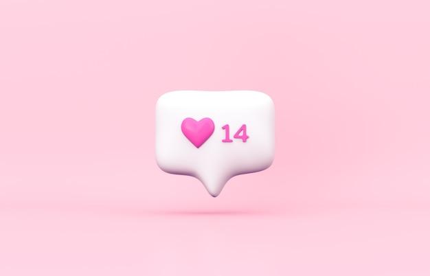 핑크 3d 소셜 미디어 알림 사랑 아이콘. 발렌타인 데이 개념.