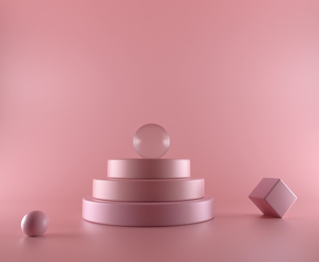 Pink abstract 3d render podium background. minimal studio interior backdrop with platform and copy space. beautiful, elegant showcase pedestal.