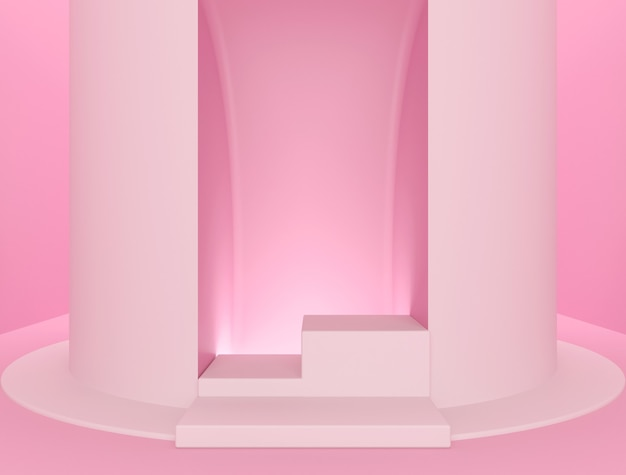Pink abstract background, podium for product placement