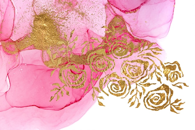 Pink abstract floral style watercolor texture. golden roses illustration.