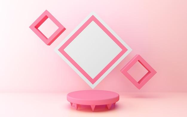 핑크 추상적 인 기하학적 모양 그룹 세트, 배너, 3d 렌더링, 기하학적 형태의 장면
