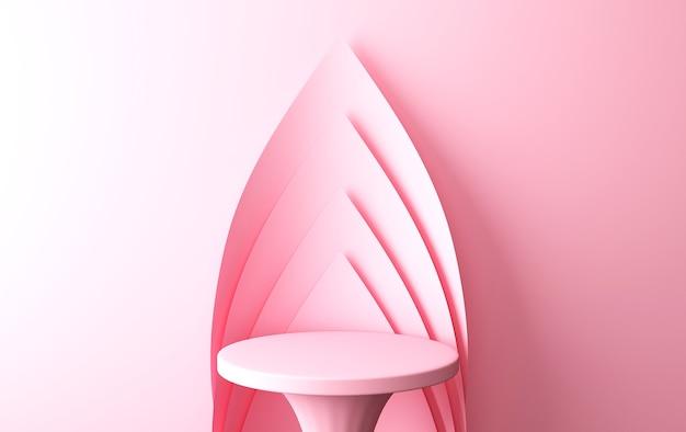 핑크 추상적 인 기하학적 모양 그룹 세트, 최소한의 추상적 인 배경, 3d 렌더링, 기하학적 형태의 장면