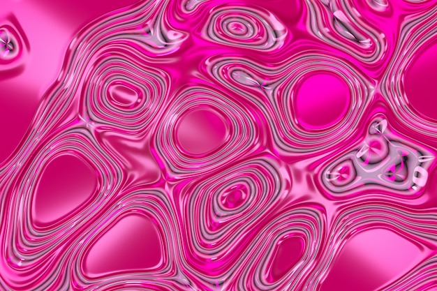 Pink abstract liquid reflective wave surface. waves and ripples of ultraviolet lines. 3d illustration