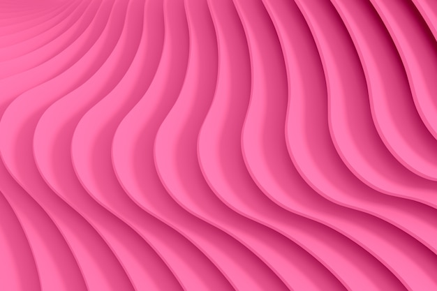Pink abstract three-dimensional texture of the plurality of circular treads a twisting spiral background. 3d illustration.