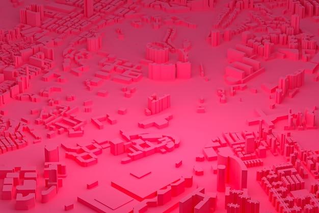 Розовый вид с воздуха на городские здания 3d рендеринг розовый фон карты