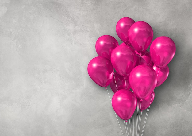 Pink air balloons group on a light concrete wall banner. 3d illustration render