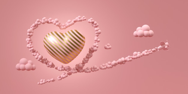 Pink air plane fly on sky with pink smoke in shape of heart, flying around gold and pink stripe heart