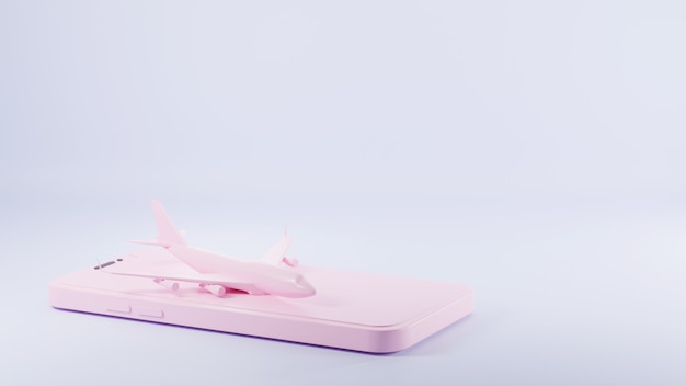 ピンクのスマートフォン画面3dレンダリングイラストの上に立っているピンクの飛行機