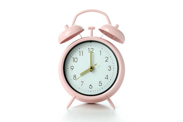 흰색 배경에 고립 된 핑크 알람 시계