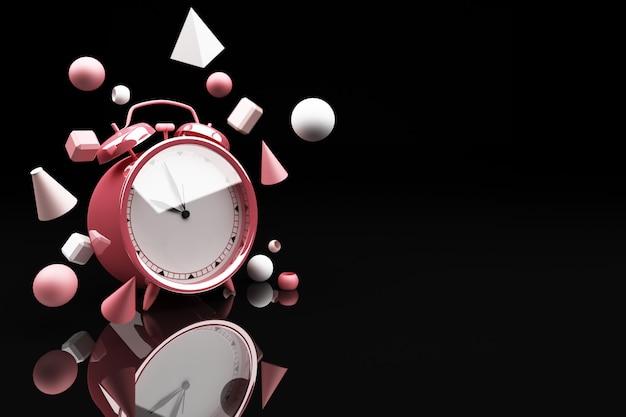 Розовый будильник, окруженный множеством геометрических фигур, розовый 3d-рендеринг