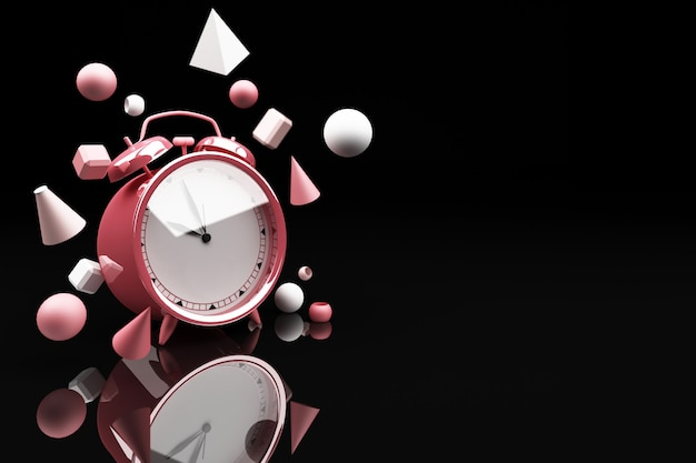 Pink alarm clock surrounding by a lot of geometric shape pink 3d rendering
