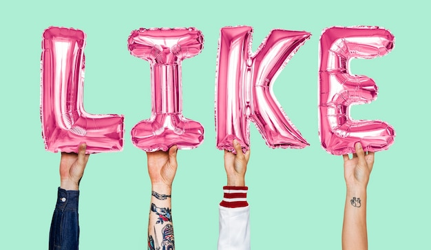 Pink alphabet helium balloons forming the text like