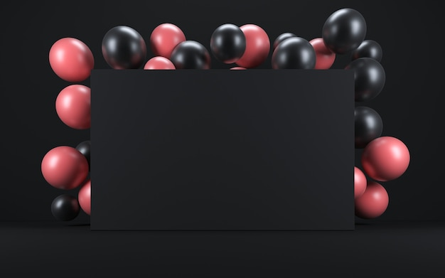 黒板の周りの黒いインテリアのピンクと黒の風船。 3dレンダリング