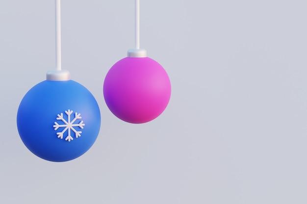 Розовые и синие новогодние шары со снежинкой, висящей на нитках, 3d-рендеринг