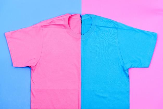 ピンクとブルーのパステルtシャツ
