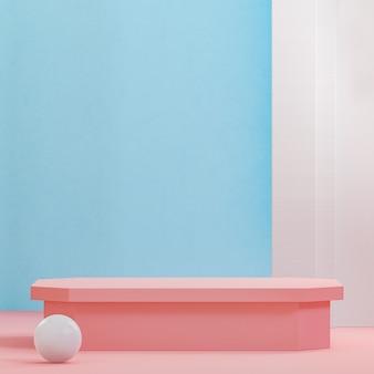 분홍색과 파란색 연단 무대는 제품 배치 3d 렌더를 위한 현대적인 배경을 서 있습니다.
