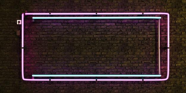 벽돌 벽에 핑크와 블루 현실적인 네온 램프 빈 프레임