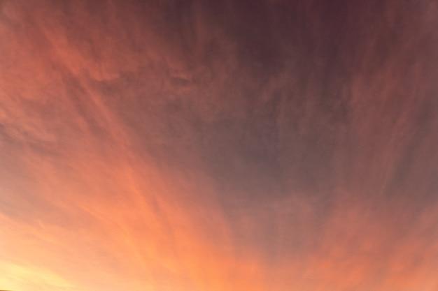 Розовые и золотые облака и небо на закате летним вечером.