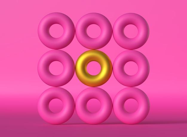 Розовые и золотые обручи с градиентным фоном геометрические фигуры в форме розового пончика