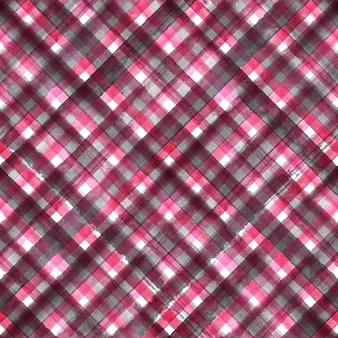 ピンクとグレーの抽象的な幾何学的な斜めの格子縞のシームレスなパターン。水彩の手描きの黒とピンクのトレンディな背景。
