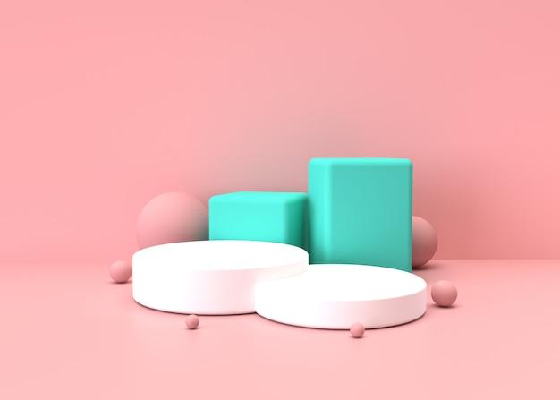 분홍색과 녹색 파스텔 제품 배경에 서있다. 추상 최소한의 기하학 concept.3d 렌더링