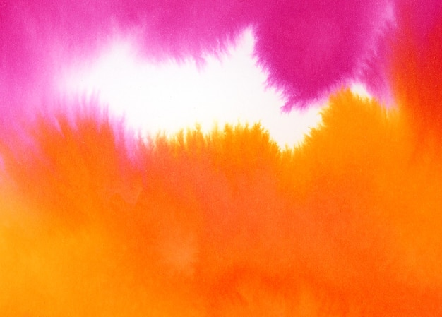 Розовая и оранжевая акварель