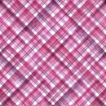 Розовый и фиолетовый абстрактный геометрический диагональный плед бесшовного фона. акварель рисованной розовый и фиолетовый модный узор.