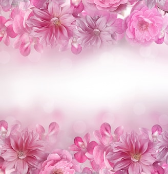 ピンクと紫の蘭、バラ、ダリアの花のフレームの背景