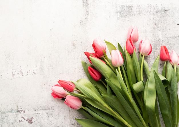 구체적인 배경에 분홍색과 빨간 튤립 꽃다발 평면도