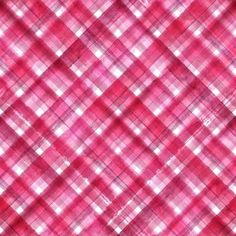 ピンクと白の抽象的な幾何学的な斜めの格子縞のシームレスなパターン。水彩の手描きのピンクと白のトレンディな背景。