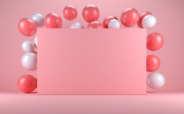 Розово-белый шар в розовом интерьере вокруг розовой доски. 3d визуализация
