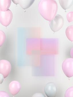 ピンクと白の風船の配置