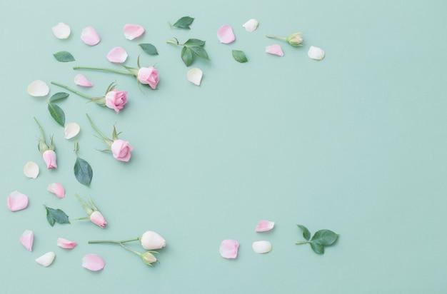 Розовые и белые цветы на поверхности зеленой бумаги