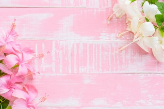 Pink and white flowers on pink wooden background. Spring and summer concept.