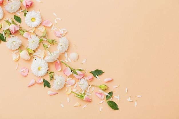 분홍색과 흰색 꽃