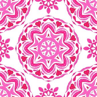 분홍색과 흰색 손으로 그린 라운드 만다라 타일 원활한 장식 수채화 물감 페인트 패턴