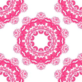ピンクと白の手描きタイルシームレス装飾水彩ペイントパターン。
