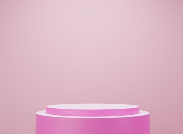 ピンクと白のプラットフォーム。製品の展示。 3dレンダリング