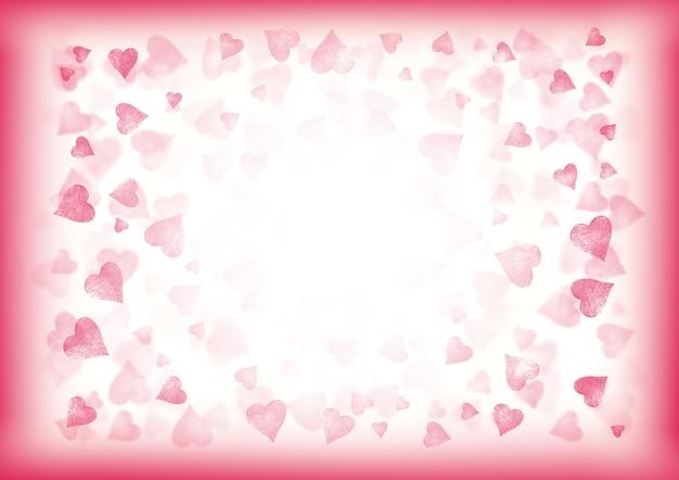 ピンクと白のバレンタインは、お祝いのグラデーションの水平方向の背景を抽象化します。ハートのボケ効果パターンテクスチャ。テキスト用のスペース。