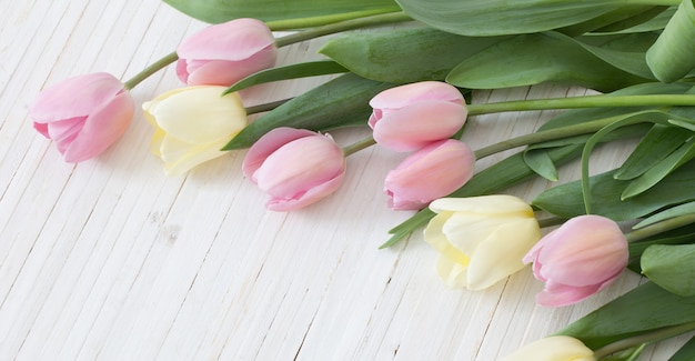白い木の表面にピンクと黄色のチューリップ