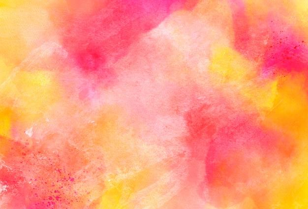 분홍색과 노란색 수채화 텍스처 배경