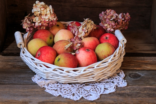 Pink apples in a white basket and flowers hydrangea  (close up)