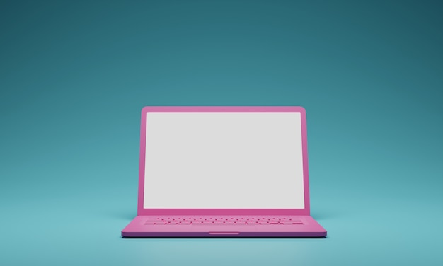Pink aptop computer with blank white screen isolate on green background. screen mockup template. 3d render.