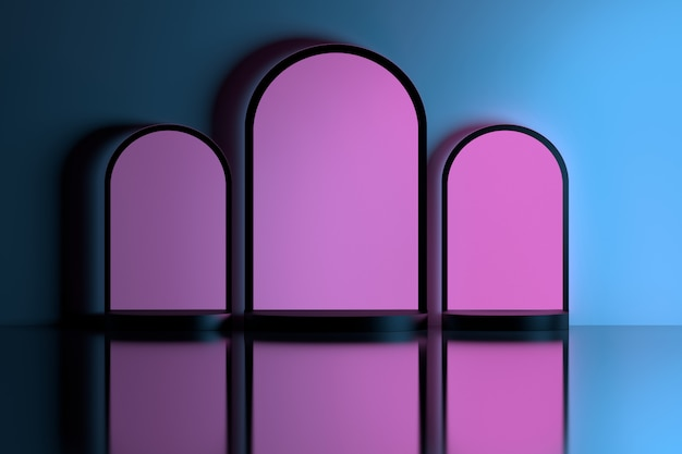 Pink arches in blue wall