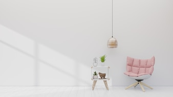 Pink armchair with cabinet in white room with simple lamp on empty wall.